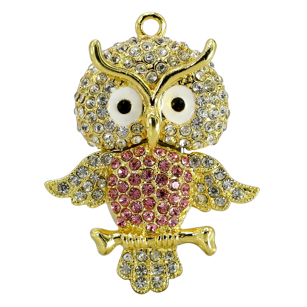 Animal USB Flash Drive Metal Diamond Owl Pendrive Nighthawk Pen Drive 4GB 8GB 16GB 32GB 64GB USB Memory Stick Gift With Necklace 28