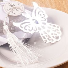 Fashioncraft Silver Metal Bookmark Favor with White Silk Tassel(China)