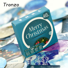 Tronzo 46/48Pcs Winter Merry Christmas Sticker Xmas Gift Box Decoration Wedding Party Supplies DIY Scrapbooking Seal Label(China)