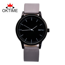 OKTIME Simple Fashion Mens Watch Brand Quartz Living Waterproof Black Dial Leather Casual Wrist Watch For Men Montres Homme(China)