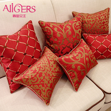 Avigers Fashion Embroidered Cushions Cover Home Decorative Throw Pillows Chinese Red Pillow Case Core Geometric Flower Sofa(China)