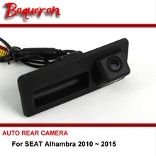 For SEAT Alhambra 2010 ~ 2015 Reverse Camera wireless HD CCD RCA NTST PAL Trunk Handle OEM Car Rear View Camera