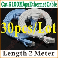 30PCS/LOT BEST PRICE QUALITY New 6FT 2M CAT6 CAT 6 Flat UTP Ethernet Network Cable RJ45 Patch LAN Cord wholesale,ExpressShipping