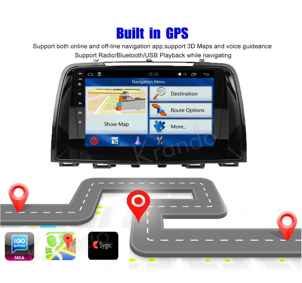 Krando Android car radio gps navigation multimedia system for Mazda CX-5 2012