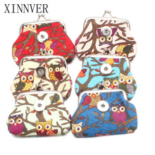 New 6 Colors 18MM Snap Buttons Jewelry Owl Coin Purses Wallets Kids Girl Women's Bags Pouch For Gift ZN013
