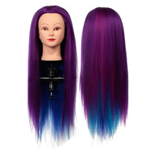 Salon Hairdressing Long Human Hair Mannequin Doll Training Head Purple+Rainbow(China)