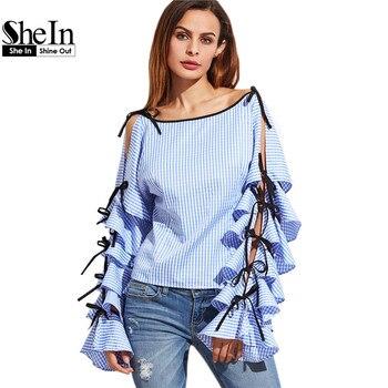 SheIn Spring 2017 Women Clothing Women Blouse New Fashion Boat Neck Blue Striped Bow Tie Split Ruffle Long Sleeve Blouse