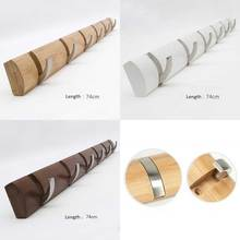 Bamboo base with 6pcs metal hook coat hanger, wall mount holder, bag & key hook, three color for your choice