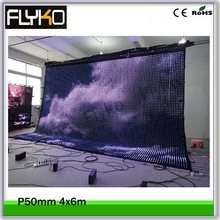 4m high x 6m width P5 led led moving video display 3in1 lights flexible video curtain wall with flight case