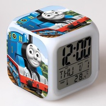Thomas & Friends Alarm Clocks Cartoon Thomas Train Digital Alarm Clock kids toys Color changing Multifunction night light clock(China)