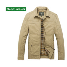 Wildgeeker Man's Jacket Turn-down Collar Cotton Zipper Thin Solid Business Casual Cozy Coats And Jackets Big Size Men Clothing