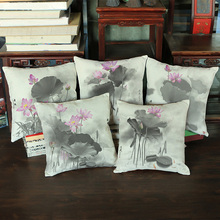 China wind-Retro ink lotus-cotton linen pillow home decoration real wooden bed Head sofa Chair Car Cushion customization(China)