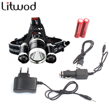 3T6 led headlamp chips 3x XM-L T6 LED Headlight 9000 Lumen Head Lamp Flashlight Lanterna 4 switch model choose battery charger