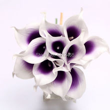 Free shipping,15pcs/lot Aritifical white&purple center Latex Real touch Calla Lily flower bouquets Wedding Favors flower JH04-15