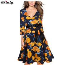 Oxiuly Yellow Flower Print V Neck Vintage Dress Women Loose 2017 Autumn Dresses Three Quarter A Line Dress with Black Belt(China)
