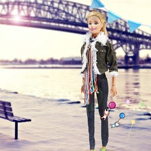 LeadingStar Winter Fashion Modern Outfit Casual Army Green Jacket Scarf Vest Hat Pant Shoes For Barbie Doll 29cm zk15(China)