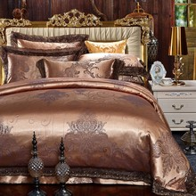 Jacquard Luxury Bedding set King Queen size Bed set Silk Cotton Lace Duvet cover set Bedsheet Pillowcases 4pcs Wholesale price(China)