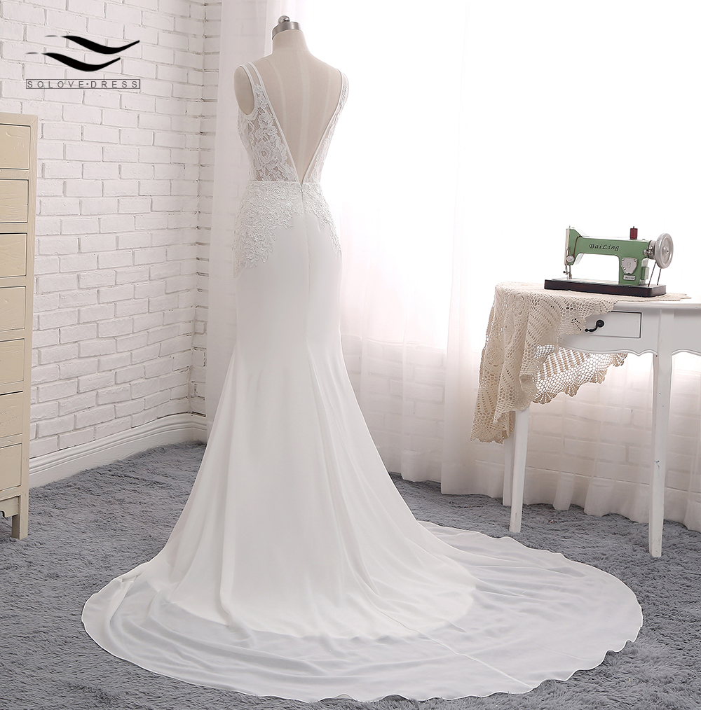 Sexy Chiffon Chapel Train Long Cap Sleeves Wedding Dress Mermaid Real Photos Bridal Gown 2018 SLD-W593 3