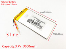 3.7V 3000mAh Rechargeable li-Polymer Li-ion Battery For china clone Goophone 5.5 6plus I6 6SPLUS phone 3253108 3-Wire