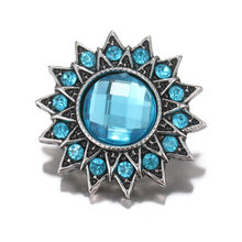 Royal Blue Rhinestone 18mm Snap Buttons For Snaps Bracelets Women Party Jewelry Best Gift For Girls Wholesale(China)