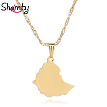 Shamty Smooth 25mm Ethiopian Map Pendant Necklaces Chain Women Men Pure Gold Color Jewelry Africa Gold Chain Ethiopia Maps