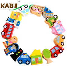KABI Toy Educational Wooden Traffic/People/Farm Animals String Beads Cartoon Beads Birthday Gift MT15(China)