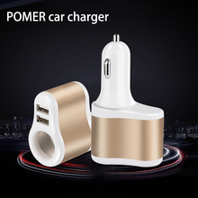POMER USB Car Charger Metal Casing 3 Port with Cigarette Lighter Socket For iPhone 7 6s iPad Samsung HTC Xiaomi Phone Charger