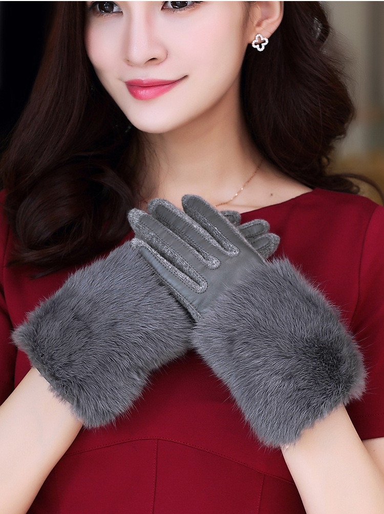 Suogry 2018 Women New Solid Lady Leather Gloves Black Autumn Winter Warm Gloves Fur Rabbit Winter Leather Gloves Women Gloves Ture 100% Guarantee Men's Gloves