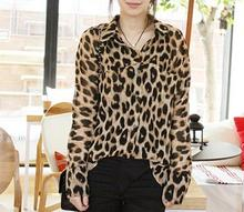 Fashion Casual Leopard Print Women Chiffon Blouse Loose Long Sleeve Blusa Blusas Femininas 2014 Camisas Femininas Women Tops