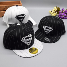 2016 Korean Children Baseball Caps kids Hip hop cap Superman Embroidery striped snapback cap For Boys Girls Peaked cap