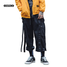 2017 New Autumn Men Cargo Pant Male High Street Fashion Hip Hop Casual Loose Straight Trouser Removable Ribbon Tooling Pant