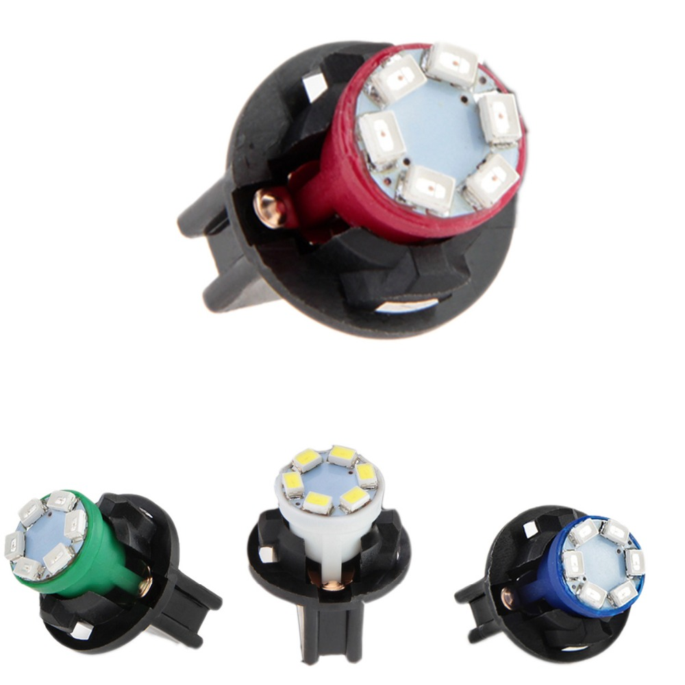 Qook 6 Sets Car Auto 12V 0.2W T10 6 LEDs 1210SMD Instrument Panel Dash Light Bulb Green Blue White  Red Holder<br><br>Aliexpress