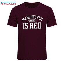 2017 New United Kingdom Red Letter Print T Shirt Men Cotton O-Neck Manchester Tee Shirts Camisa Masculina tee