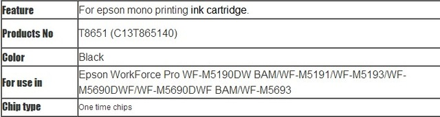 INK WAY 5pcs ONE TIME CHIPS for Epson T8651 T8651XL for WorkForce Pro WF-M5190DW, WF-M5190DW BAM,WF-M5690DWF, WF-M5690DWF BAM