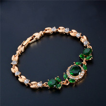 SHUANGR Fashion Gold Color Clear White Austrian Crystal Green Rhinestone Bracelets &Bangles For Women Girl Gift pulseira masculi
