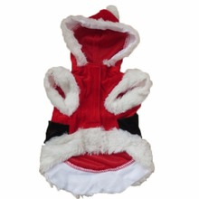 Pet Dog Christmas Coat Costume Puppy Dog Santa Claus Hoodie Jacket Outwear Apparel D9440