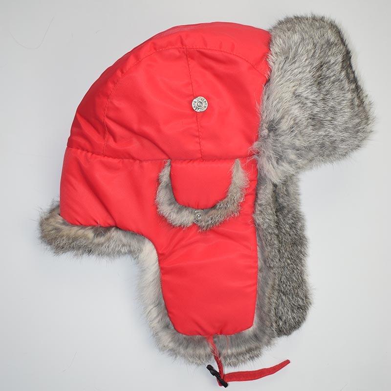 rabbit fur hat red