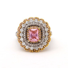 UFOROR Classic flower ring wedding jewelry elegant lace purple stone aaa zircon mature charm women gift engagement bague