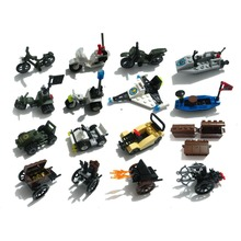Military Motor bike police Navy boat treasure car space plane castle knights Chariot Building Block weapon(China)