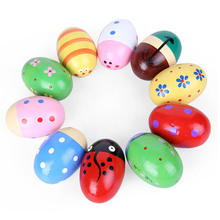 1Pcs Wooden Egg Sand Music Toy Sand Hammer Early Education Musical Instrument For Children Baby Hand Play Toys Random Color(China)