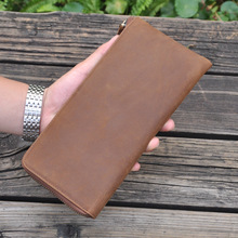 Men's genuine leather clutch wallet Brown Real leather iPhone case Large capacity purse with 16 card holders and zipper pocket