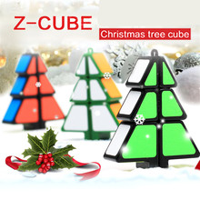 Zcube Christmas Tree Shaped Magic Cube two colors Keychain Decoration Puzzle Cube Christmas Gifts(China)