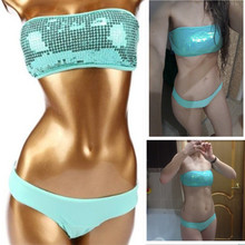 Sexy bandeau swimwear bikini set top & bottom 2017 beach swim push up vintage sequined bathing suit women maillot de bain femme