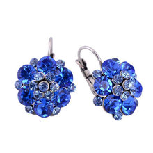 High Quality Rhinestone Flower Crystal Stud Earrings For Women Party Rose Pink Blue Romantic Shamballa Boho Fashion Jewelry