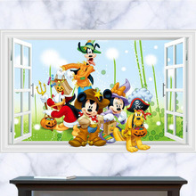 Kids bedroom 3d mickey mouse wall stickers removable children wall decals home decor wall poster