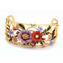 France Les Nereides Enamel Glaze Copper Trendy Fashion Double Colour Peony Flower Women Open Bangles(China)