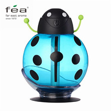 FEA Mini USB Cartoon Ladybug Humidifier 260ml Night Light Aroma Air Essential Oil Diffuser Mist Maker Car Office Baby Bedroom