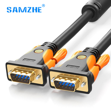 SAMZHE 1080P VGA Cable Aluminium foil braid Gold-plated Connector 1.5m 2m 3m 5m 10m 15m for computer projector monitor screen(China)