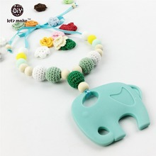 Let's Make Crochet Beads Sling Necklace Elephant Shaped Teething Pendant Silicone BPA Free Baby Teether Infant Gift Necklaces