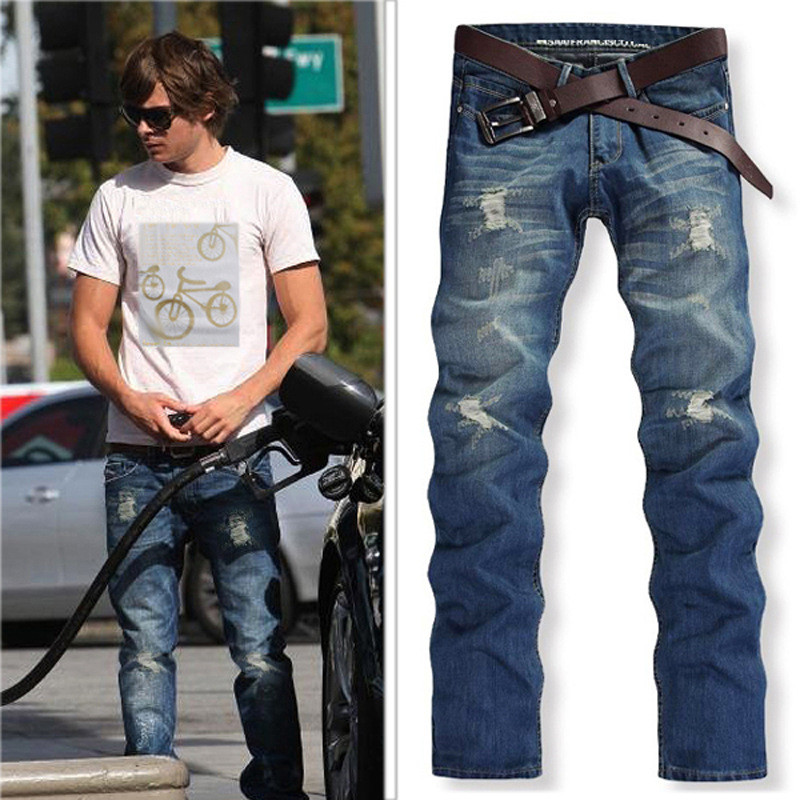 2017 New Fashion Men Jeans Denim Pants Slim Punk Patchwork Distressed Frayed Long Pants Brief Male Trousers Vintage Plus SizeОдежда и ак�е��уары<br><br><br>Aliexpress